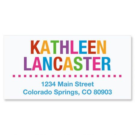 Whimsical Name Deluxe Address Labels Personalized address labels are also a quick and easy way to label your books, CDs, DVDs and other belongings to avoid mix-ups. The set includes 144 personalized self-stick address labels, each measuring 1-1/8  x 2-1/4 . We'll print your labels with the name and address, message, or information you choose. Specify 2 lines up to 14 characters and 2 lines up to 26 characters.