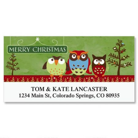 Christmas Owls Deluxe Address Labels