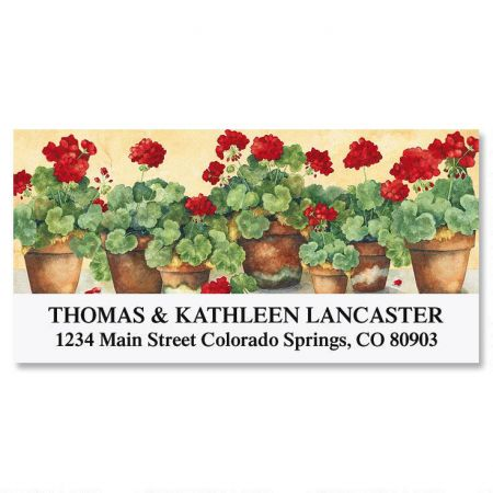 Scarlet Geraniums Deluxe Address Labels