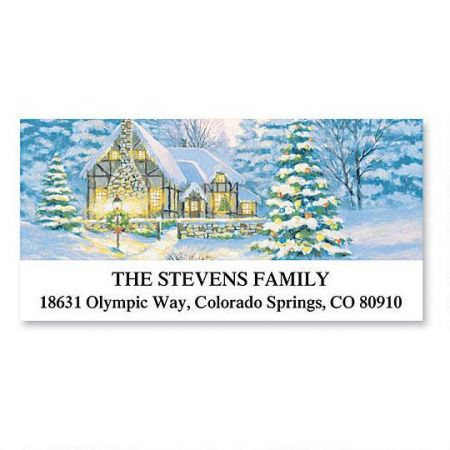 Christmas Cottage Deluxe Address Labels