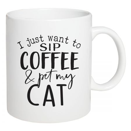 Sip Coffee and Pet My Cat Perfect for enjoying warm and cold beverages with friends and family. Crafted porcelain and microwave/dishwasher safe. 15oz.
