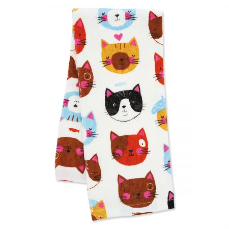 Crazy Cat Pattern Kitchen Towel The perfect kitchen towel for cat lovers! 100% cotton, machine wash/tumble dry, 16 x 26 .