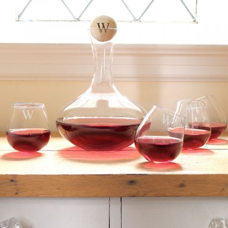 Personalized Decanter & Tipsy Wine Glasses Set