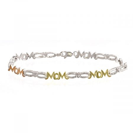 Mom Diamond Accent Open Link Heart Bracelet