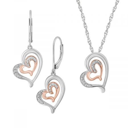 "Diamond Double Heart Pendant with 18"" Chain & Heart Earrings"