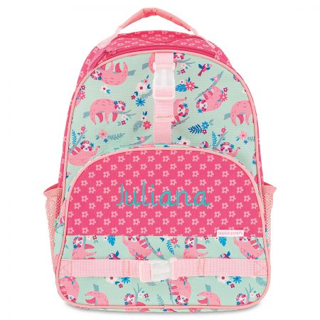 All Over Sloth Print Personalized Backpack by Stephen Joseph Perfectly sized for school age kids, these bags are large enough to carry your children's schoolbooks and required day-to-day school supplies and still leave room for a change of clothes for playtime after class. Measures 12  x 16  Specify up to 12 characters Standard shipping only. Expedited shipping not available. Allow at least 3-4 weeks for delivery unless otherwise noted. Cannot be sent outside the 48 contiguous states, or to P.O. Box, APO/FPO, or foreign addresses.