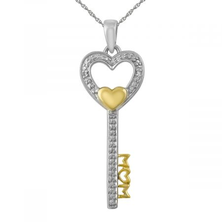 "Diamond Accent Mom Key with Heart  Pendant with 18"" Chain"