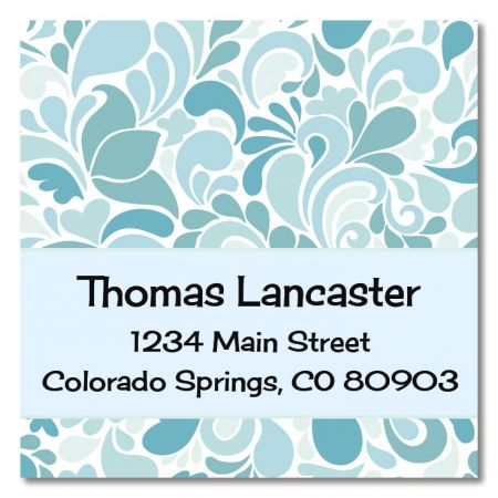 Blue Sensation Large Square Address Labels