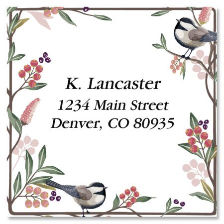 Berry Branch Large Square Address Labels