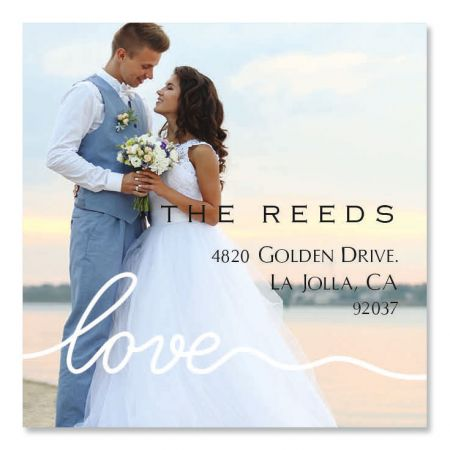 Love White Caption Large Square Photo Personalized Address Labels