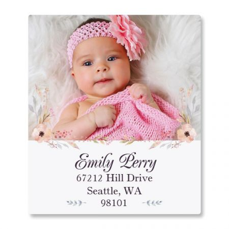 Floral Cameo Select Photo Personalized Address Labels
