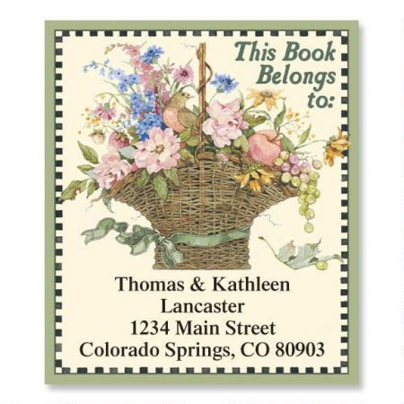Floral Basket Bookplate Labels