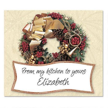 Wreath Rhapsody Goodie Labels Present your goodie gifts with a festive flourish! Festive set contains 36 labels personalized with the name or message you choose. Labels are 3 3/4  wide. Specify 1 line, up to 28 characters (From my kitchen to yours is preprinted).