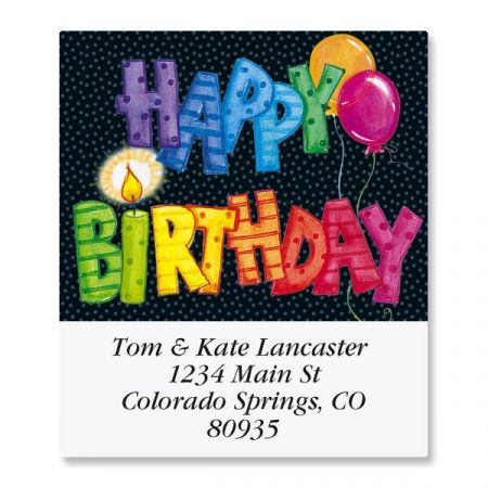 Striped Birthday Select Address Labels