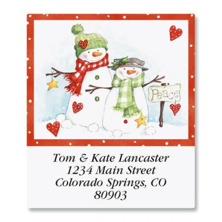Peace Snowmen Select Address Labels