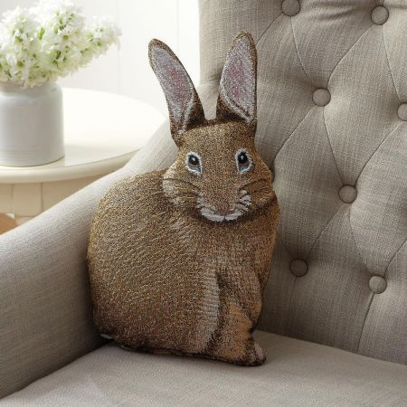 Hare Raising Bunny Shaped Decorative Pillow