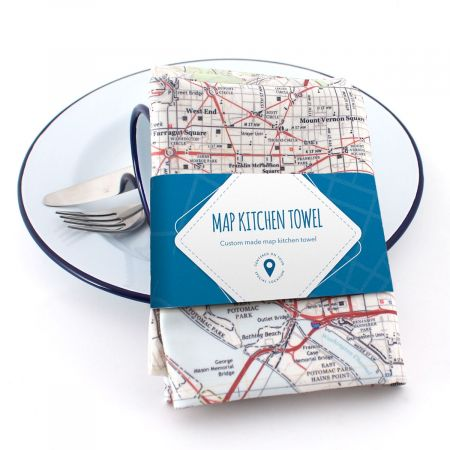 Map Personalized Kitchen Towel