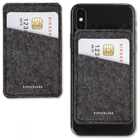 Felt Phone Pocket Stylish felt-finish pocket attaches to any phone or tablet with removable 3M no-residue adhesive. Holds up to 3 cards (for quick getaways). Colors vary; we'll choose one for you.