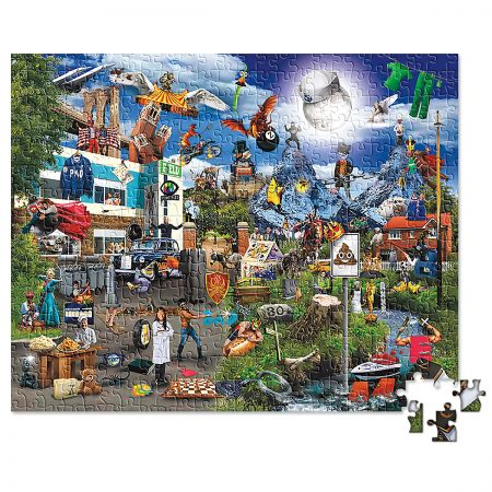 TV Shows Visual Puns Puzzle Hours of pun! Perfect for fans of television showsl You won't want the pun to stop! Ages 3+, 1000-piece puzzle, 27 x 21 1/2 . WARNING: Choking Hazard - small parts. Not for Children under 3 years.