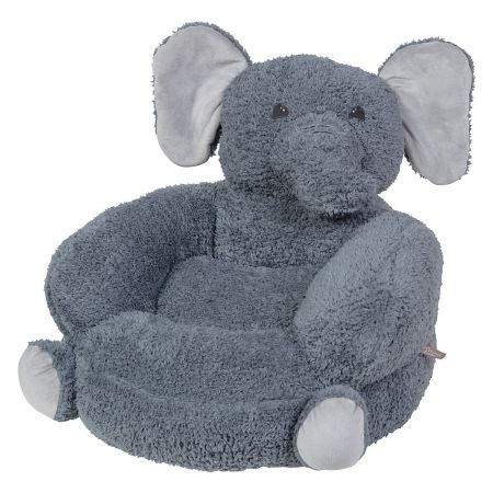 Sherpa Elephant Children's Plush Chair The Elephant Plush Character Chair brings delightful whimsy to your little one's world and to any room of the house. Perfect for reading, relaxing, snuggling. Soft outer surface is ideal for cuddling and hugging. Measures 21  x 19  x 19  with contoured support. 100% polyester plush with 100% polyester fill. Spot clean only; use a damp cloth. Suitable for most children ages 12 months and up. Ships directly from the manufacturer. Please allow 1-2 weeks for delivery. Expedited shipping not available. Cannot be sent outside the 48 contiguous states or to a PO Box.