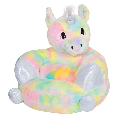 Rainbow Unicorn Children's Plush Chair The Rainbow Unicorn Plush Character Chair brings delightful whimsy to your little one's world and to any room of the house. Perfect for reading, relaxing, snuggling. Soft outer surface is ideal for cuddling and hugging. Measures 21  x 19  x 19  with contoured support. 100% polyester plush with 100% polyester fill. Spot clean only; use a damp cloth. Suitable for most children ages 12 months and up. Ships directly from the manufacturer. Please allow 1-2 weeks for delivery. Expedited shipping not available. Cannot be sent outside the 48 contiguous states or to a PO Box.
