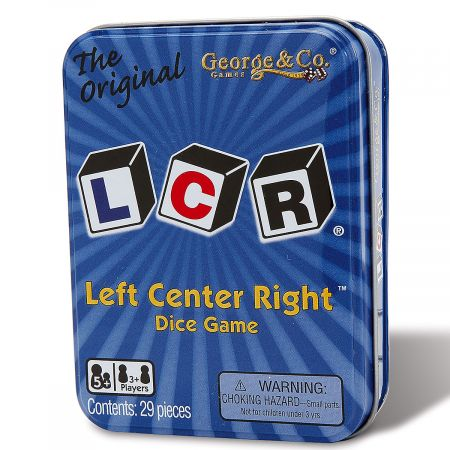 The Original LCR Game Fun, fast, addictive. A dice game of skill and chance: The winner is the one with the most chips, but there are pitfalls. Ages 3+. WARNING: Choking Hazard - small parts. Not for Children under 3 years.