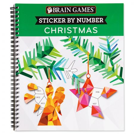 Sticker by Number Christmas Book Brain Games Anyone can be an artist! Relax, stick and create beautiful pictures to share. Soft cover, 52 pages, 8 1/2 x 10 , Ages 5+.