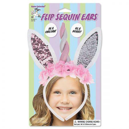 Unicorn Bunny Flip Sequin Headband