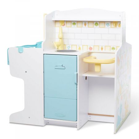 Baby Care Activity Center by Melissa & Doug Little ones will love having a complete care center for nurturing and pampering their babies. With everything a baby doll could need for feeding, bathing, and sleeping, it almost makes a grown-up Mom jealous. A great center for stuffed-animal babies, too. Sturdy, solid-wood and plastic triple-function care center 22 x 32 x 32  Includes: Kitchen feeding area, bathing/changing area, and nursery/crib area Kitchen area includes: Refrigerator, sink, and high chair Bathing/changing area includes: Bath tub, spray nozzle, flip-down changing mat, mirror, wipes dispenser, diaper disposal chute, and washing machine with clicking dial Nursery area includes: Rocking cradle, clothing storage, shuttered window with reversible day/night scene card Easy detailed assembly instructions included Wipe with damp cloth to keep activity center looking neat and clean. Ages 3+ WARNING: ADULT ASSEMBLY REQUIRED. Contains small parts before assembly. Shipped directly from the manufacturer. Standard shipping only; expedited shipping not available. Allow at least 2 weeks for delivery unless otherwise noted. Cannot be sent outside the 48 contiguous states, or to P.O. Box, APO/FPO, or foreign addresses.