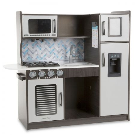 Melissa & Doug's Chef's Kitchen Budding young chefs can practice in this pretend-play kitchen that looks just like the adults'. Made of sturdy wood for years of make-believe cooking, the set includes: A refrigerator/freezer with an ice maker that actually dispenses 2 included  ice cubes An oven and stovetop with dials that turn A sink with handles and faucet that move Ample shelving and storage Movable hooks Grocery checklist At 3-1/2 feet long and 3 feet high, assembled, the set provides enough space for more than one child at a time to make believe they're cookinga great way to encourage creataive teamwork. Adult assembly needed. Ages 3+ Shipped directly from the manufacturer. Standard shipping only; expedited shipping not available. Allow at least 2 weeks for delivery unless otherwise noted. Cannot be sent outside the 48 contiguous states, or to P.O. Box, APO/FPO, or foreign addresses.