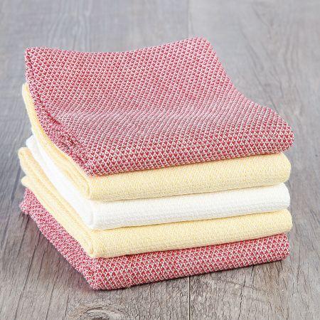 Diamond-Weave Tea Towels in Farmhouse Colors