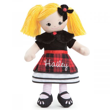 Blonde Rag Doll in Plaid Dress