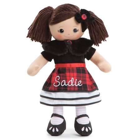 Personalized Hispanic Rag Doll in Plaid Dress