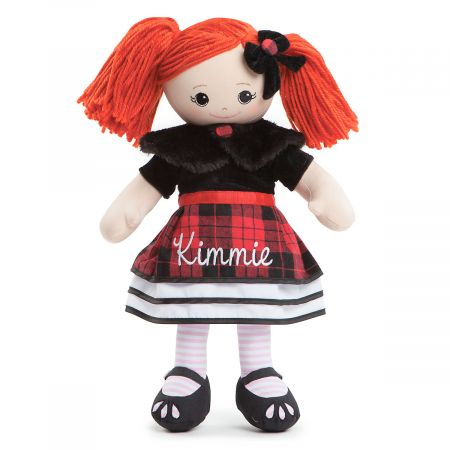 Red-Hair Rag Doll in Plaid Dress