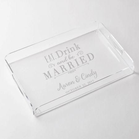 Personalized Eat, Drink and be Married Acrylic Tray on white background