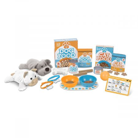Feed & Play Pet Treats Set by Melissa & Doug Playset has everything needed to pretend-care for furry friendsincluding the furry friends. From make-believe pet food and treats to games and activities to collar and nametags, fun set gives children a realistic taste of pet-owner responsibilities before making the actual commitment. 26 pieces 1 plush cat and 1 plush dog, each 8 1/2 L Dog food box; cat food box Dog food can; cat food can 2 feeding bowls and a placemat Pretend cat treats pouch; pretend dog chews pouch Toy ball and bone 2 pet collars with name tags plus name and reward stickers Reusable activity card and checklist For Plush Animals: Hand wash, cold water. Do not bleach. Drip dry. Ages 3+ WARNINGNot intended for use with real animals. Shipped directly from the manufacturer. Standard shipping only; expedited shipping not available. Allow at least 2 weeks for delivery unless otherwise noted. Cannot be sent outside the 48 contiguous states, or to P.O. Box, APO/FPO, or foreign addresses.