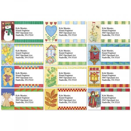 Country Year-Round Border Address Labels  (12 Designs)
