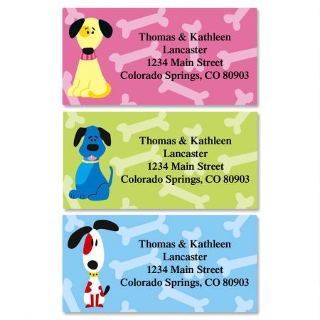 Colorful Dogs Border Address Labels  (3 Designs)
