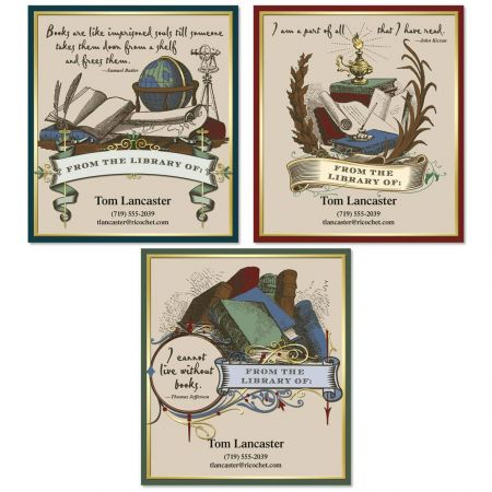 Antiquarian Bookplate Labels  (3 Designs)