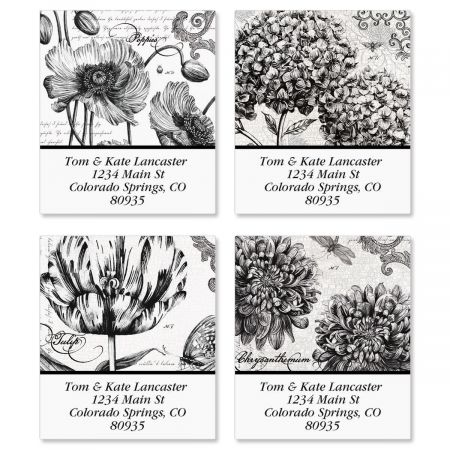 Botanical B&W Select Address Labels  (4 designs)