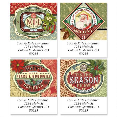 Holiday Ephemera Select Address Labels  (4 designs)