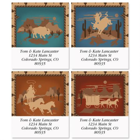 Western Silhouette Select Address Labels  (4 Designs)
