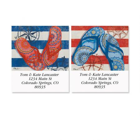 Nautical Flip-Flops Select Address Labels  (2 Designs)