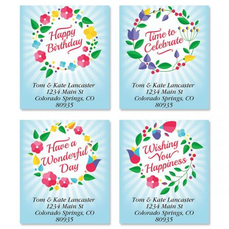 Wreath Blooms Select Address Labels  (4 Designs)
