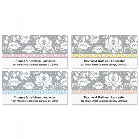 Gray Botanical Deluxe Address Labels  (4 Designs)