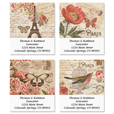 Parisian Postcard Select Address Labels  (4 Designs)