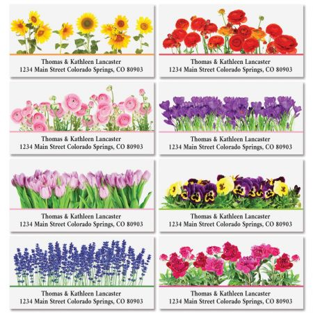 Seasonal Bouquet Deluxe Address Labels (8 Designs)