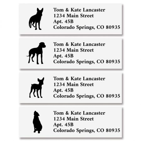 Dog Buddies Classic Address Labels (4 Designs) 240 address labels per set, each measuring approximately 5/8  x 2 . Specify 4 lines, up to 26 characters