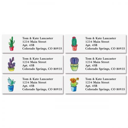 Cacti Classic Address Labels (6 Designs) You receive 144 self-adhesive Border-style personalized labels, each measuring 1 x 2 1/4 . We'll print them with the name and address, message, or information you choose. Specify 4 lines of personalization, up to 26 characters