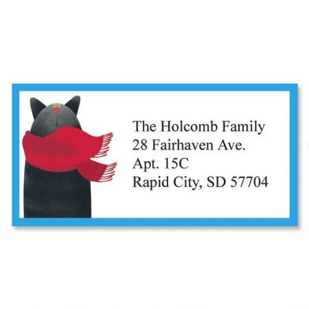 Linnea';s Year Round Cats Border Address Labels  (12 designs)